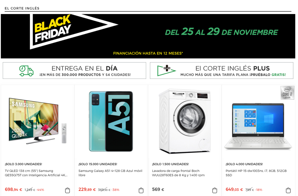 black friday el corte ingles 2020