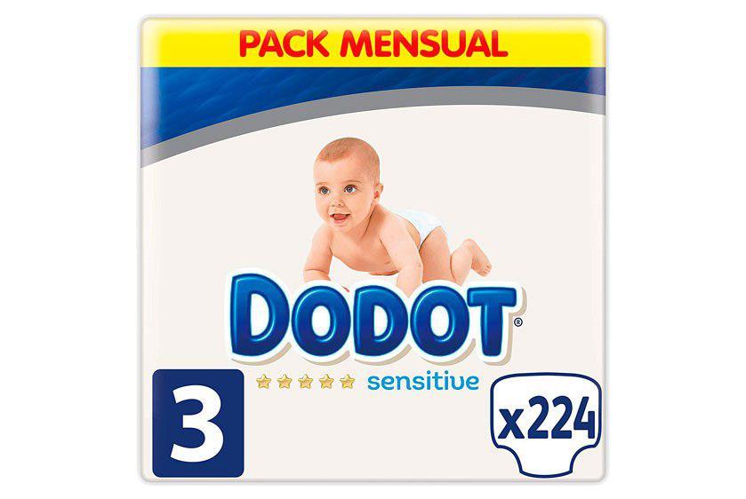 Dodot Sensitive talla 3 pack 224 pañales baratos