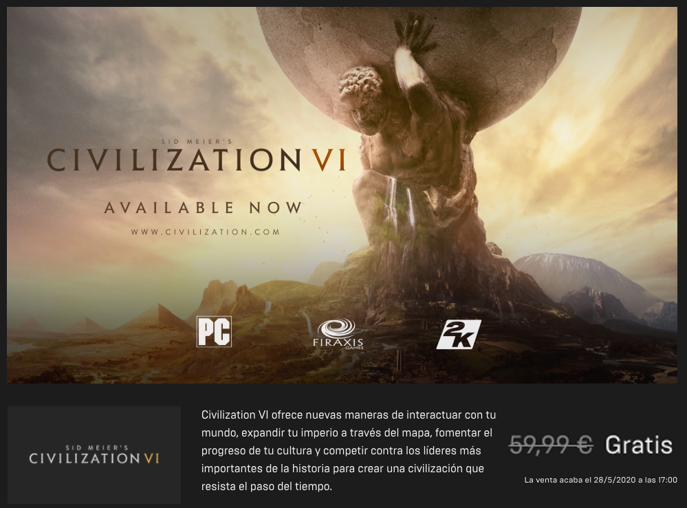 civilization vi gratis en epic games
